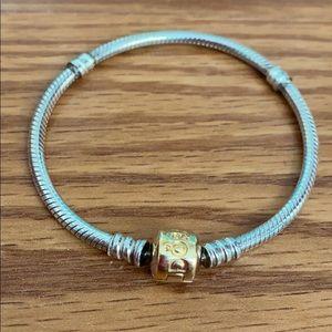 Authentic Pandora Gold Clasp Silver Bracelet